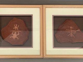 Pair of Fine Framed OPetroglyphs