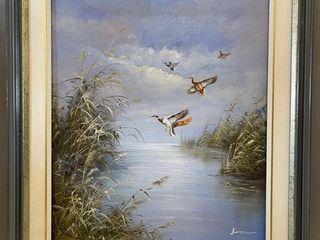 Oil on Canvas Mallard Ducks