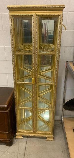 Gold Gilt Framed Corner Curio Cabinet