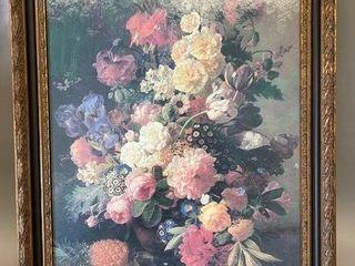 Beautiful Hardboard Floral Print in Gilt Frame