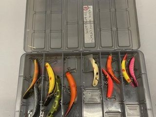 2 level case full of Heddon Flatfish lures
