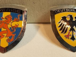 2 Bolt on Metal Car Medallions from Germany