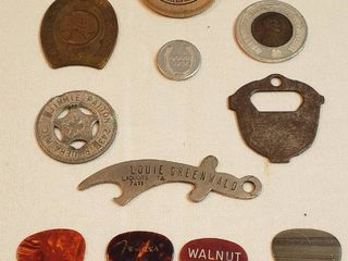 Vintage Good luck Tokens  2 with Wheat Pennies  Bottle Openers and Guitar Picks