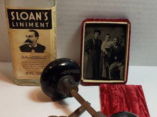Vintage Items  Glass Doorknob  Black Doorknobs  Tin Type Family Photo in Velvet Carrying Case and Sloan s liniment Bottle