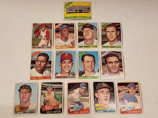 1965   1966 Topps Baseball Cards   5 cards 1965 and 9 cards 1966   fairly good condition   Some bowing