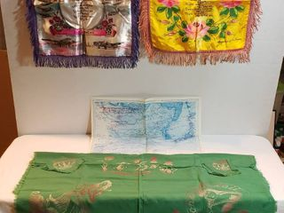 2 WWII US Air Corps Pillow Covers  Japanese Prisoner of War Camps Map and Hawaiian Islands Square Tablecloth   2 USN Napkins