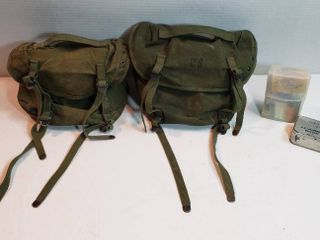 2 US Army Canvas Field Packs  Individual Survival Kit   part 2 and Snake Bite Kit