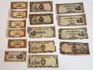 Japanese Invasion Paper Money WWII Philippines Occupation Era   Centavos and Pecos   Various Conditions