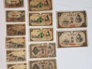 Vintage Bank of Japan Paper Currency   1940s WWII Era   50 Sen  1  5  10  and 100 Yen