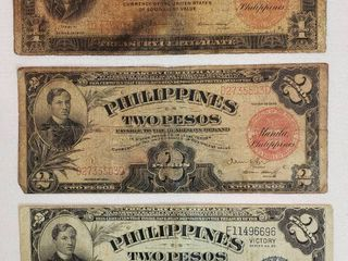 3 Philippines Paper Currency  1936 One Peco  1936 Two Pecos    1944 Victory Series No  66 Two Pecos