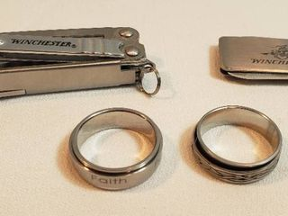 2 Men s Worry Rings  Size 10   10 5  Winchester Money Clip w  Grooming Tools and Winchester Folding Multi tool