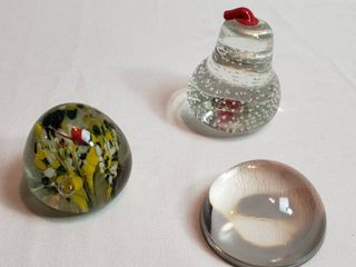 3 Glass Paperweights  Red Stem Pear by Arco  Tear Drop Multi color and Half Sphere Magnifying   lOCAl PICKUP ONlY