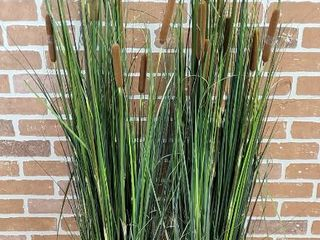 Faux Ornamental Cattails potted in 8 in  pots  one pot broke on top   see pix    up to 5 ft  tall   lOCAl PICKUP ONlY