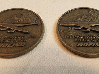 2 Boeing 5000th Brass Medallions