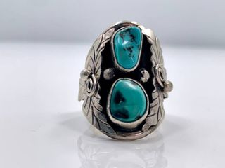 Sterling Silver and Kingman Turquoise Ring by Betta A  lee