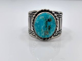Sterling Silver and Blue Ridge Turquoise Ring by Melvin Chee