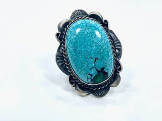 Sterling Silver and Blue Ridge Turquoise Ring by Betta A  lee