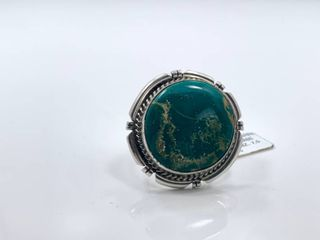 Sterling Silver and Broken Arrow Turquoise Ring by Betta A  lee