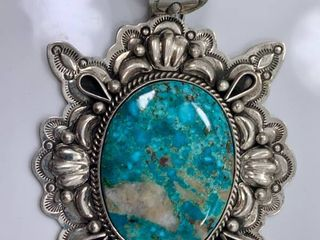 2 1oz Sterling Silver and Sonora Turquoise Pendant by Betta A  lee