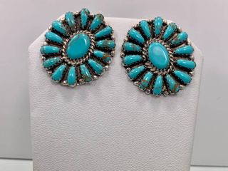 Turquoise and Sterling Silver Cluster Earrings by Pam Benally