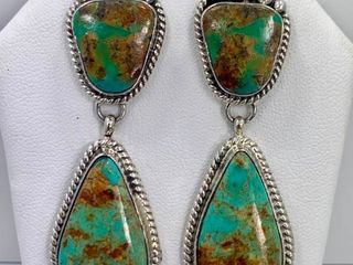 Sterling Silver and Kingman Turquoise Earrings by Elouise Kee