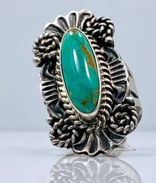 Sterling Silver and Kingman Turquoise Ring by Robert Shakey