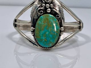 large Turquoise Blossom Cuff by Augustine largo