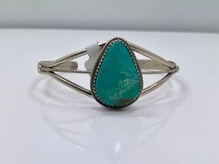 Kingman Turquoise Cuff by Phillip Yazzie