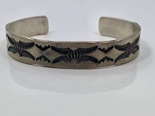 Sterling Silver Stamped Cuff by Nora Tahe