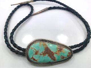 BOlO by Betta A  lee  Royston Turquoise  Sterling Silver and leather