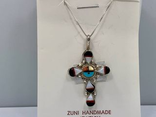 ZUNI Multi Stone Inlay Sterling Silver Sunface Cross Pendant and Chain Necklace