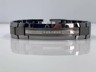 Men s Tungsten Carbide ID Bracelet with Diamond Accents