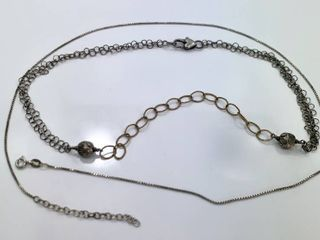 lot of 2 Sterling Silver Chain Necklaces