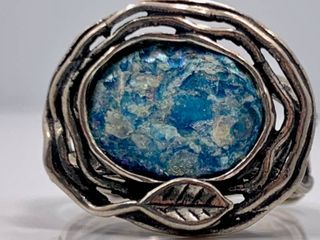 Antique Israelian Excavated Roman Glass Ring set in Sterling Silver  Interesting History
