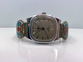 Old Pawn NAVA TWIST Crushed Turquoise and Coral Inlay Watch Tips with Mechanical Timex WORKING