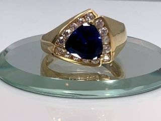 14k Yellow Gold  1 3ct Trillion cut Sapphire and Crystal Ring