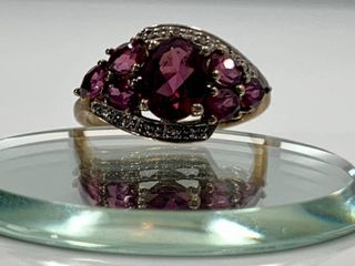 925 Sterling Silver Gold Tone   Raspberry Garnet and Crystal Ring