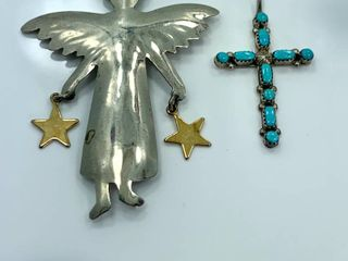 Sterling Silver Angel Brooch   Turquoise Cross Pendant