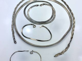 lot of 3 Sterling Silver Necklaces and 2 Bracelets