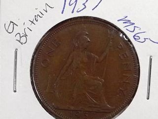 1937 United Kingdom 1 Penny   George VI  with  IND IMP