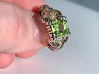 1 25ct Natural Peridot   Clear Crystal Accented Sterling Silver Ring