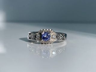 25ct Tanzanite   Clear Crystal Accented Sterling Silver Ring