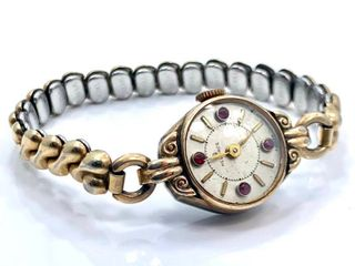 ANTIQUE ladies HElBROS Stainless Steel expansion bracelet watch