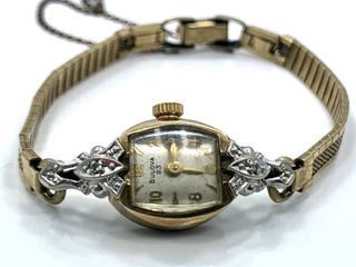 Antique ladies 1956 Bulova  23  Mechanical  Wind up  Wristwatch with Diamond Accents
