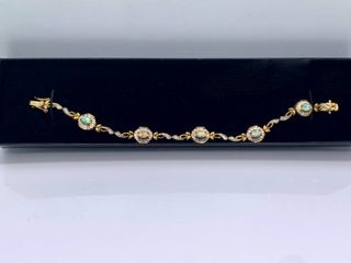 925 Sterling Silver Gold Toned Bracelet with Opal