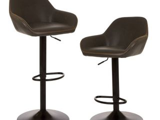 Glitzhome Mid century leatherette Adjustable Bar Stools   Set of 2