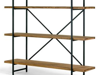 Ailis Brown Pine Wood Metal Etagere Bookcase