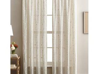 lynette Floral Embroidered Rod Pocket Curtain Panels   Set of 2