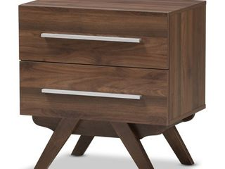Baxton Studio Mid Century 2 Drawer Nightstand