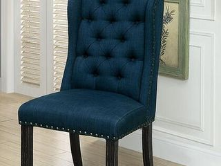 Sania I Collection Wing Back Button Tufted Side Chairs   Set of 2
